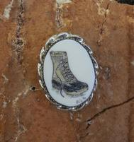 Ivory scrimshaw LL Bean boot tie tack
