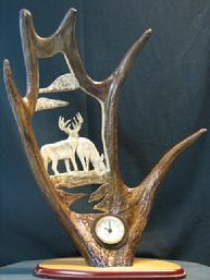 Carved Moose Antler clock