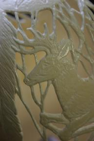 Carved deer on ostrich egg