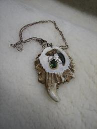 Deer Antler rosette necklace with claw and gemstone