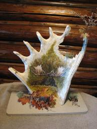Hand Painted Moose on old drop Moose Antler