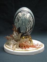 Emu egg carved