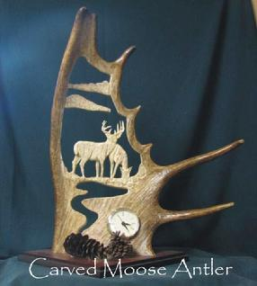 Clock carved moose antler