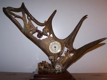 Moose Carved with fighting deer and thermometer mounted on it